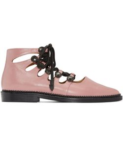 Toga Pulla | Pink Open Lace Oxfords