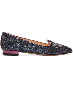 Charlotte Olympia | Blue Glitter Metallic Kitty Flats