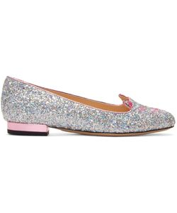 Charlotte Olympia | Silver Glitter Metallic Kitty Flats