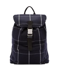 A.P.C. | Navy Wool Plaid Snap-Buckle Backpack
