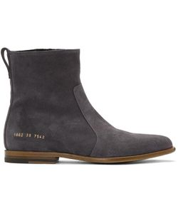 Robert Geller | Grey Common Projects Edition Suede Boots