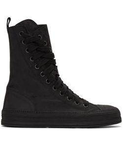 Ann Demeulemeester | Black Nubuck High-Top Sneakers