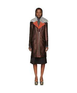 Rodarte | Shearling Collar Metallic Coat