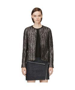 Jay Ahr | And Metallic Silver Tweed Zip Blazer