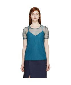 Burberry Prorsum | Green Tulle And Silk Feather Light Top