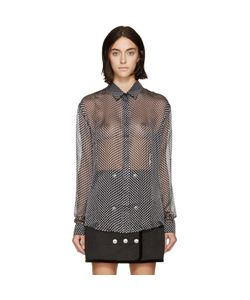 Anthony Vaccarello | And Grey Flocked Spot Shirt