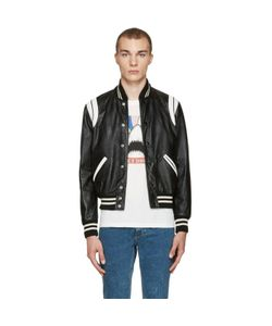 Saint Laurent | And White Leather Teddy Bomber Jacket