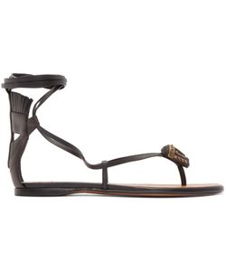 Valentino   Leather African Mask Sandals