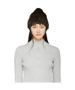Meteo By Yves Salomon | Brown Knit Rabbit Fur Toque