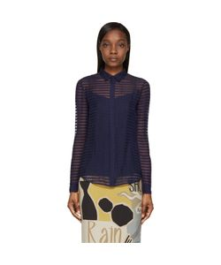 Burberry Prorsum | Navy Sheer Striped Silk Chiffon Shirt
