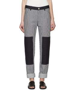 Nomia | Navy And White Denim Ticking Painter Jeans