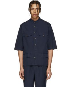Umit Benan | Navy Cuban Military Shirt
