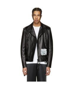 Off-White | Leather Diagonal Carryover Biker Jacket