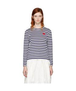 Comme Des Garçons Play   Long Sleeve Striped Heart Patch T-Shirt