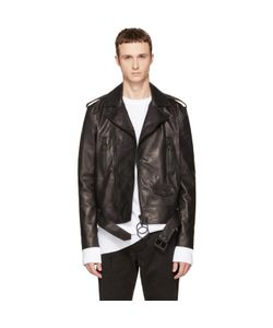 Off-White | Leather Brushed Biker Jacket