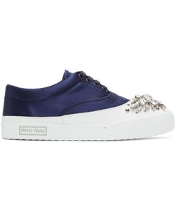 Miu Miu | Exclusive Navy Satin And Crystal Sneakers