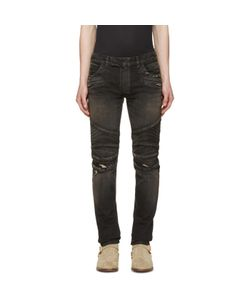 Balmain   Distressed Biker Rib Jeans