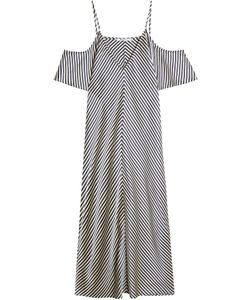 T by Alexander Wang | Striped Silk Dress With Cut Out Shoulders Gr. Us 6