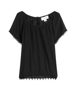 Velvet | Cotton Top With Embroidered Trim Gr. M