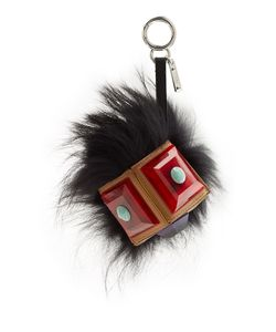 Fendi | Geny Bag-Bug Monster Key Chain With Silver Fox And Leather Gr. One Size