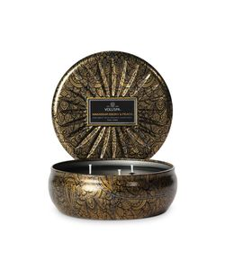 Voluspa | Triple Wick Makassar Ebony Peach Candle In Embossed Tin Gr. One Size