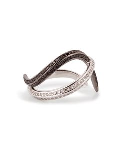 Nikos Koulis | 18kt Gold Thumb Ring With Black And White Diamonds Gr. One Size