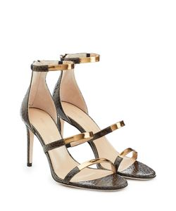 Tamara Mellon | Embossed Leather Sandals With Metallic Straps Gr. 38