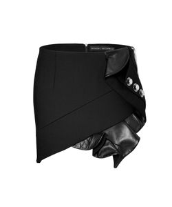 Anthony Vaccarello | Mini-Skirt With Leather Ruffle And Button Embellishment Gr. 36