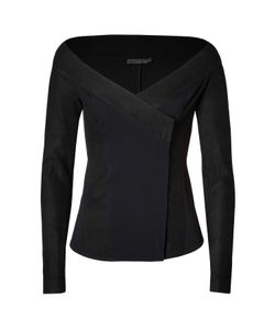 Donna Karan New York | Leather Trimmed Jacket In Black Gr. 40