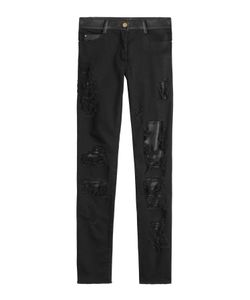 Jitrois | Distressed Skinny Pants With Leather Gr. Fr 34