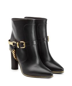 Balmain | Leather Ankle Boots With Chain Embellishment Gr. Fr 36