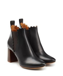 Chloé | Leather Ankle Boots With Scalloped Trim Gr. It 385