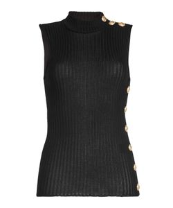 Balmain | Ribbed Cotton Tank With Embossed Buttons Gr. Fr 38