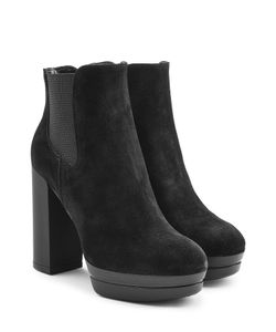 Hogan | Suede Platform Ankle Boots Gr. It 39