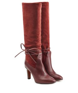 Chloé | Suede And Leather Boots With Side Tie Gr. It 39