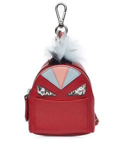 Fendi   Leather Backpack Charm With Fox Fur Gr. One Size