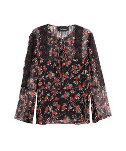 The Kooples | Patterned Silk Top With Lace Gr. S