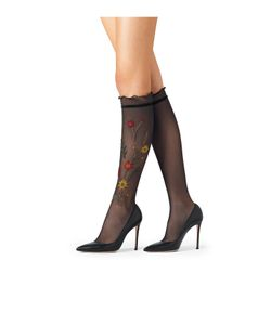 Fogal | Embroidered Knee-High Socks Gr. L