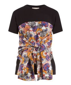 Emilio Pucci | Cotton T-Shirt With Printed And Draped Detail Gr. L