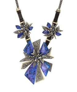 Alexis Bittar | Mixed Metal Necklace With Leather And Crystals Gr. One Size