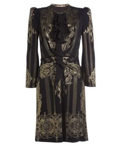 Roberto Cavalli | Dress With Ruffles And Metallic Gold Print Gr. It 44