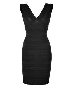 Hervé Léger | V-Neck Bandage Dress In Gr. M