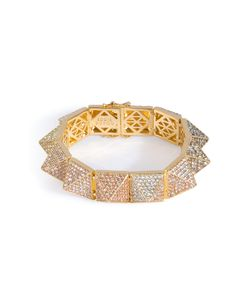 Eddie Borgo | Gold-Plated Pyramid Bracelet With Crystal Embellishment Gr. 7