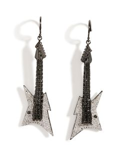 Lynn Ban | Black Rhodium Silver Guitar Earrings B In Gr. One Size