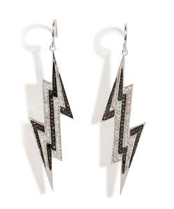 Lynn Ban | Sterling Silver Lightening Bolt Earrings With Diamonds Gr. One Size