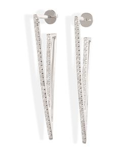 Lynn Ban | Sterling Silver V Earrings With Diamonds Gr. One Size