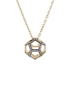 Noor Fares | 18k Gold Dodecohedron Pendant Necklace With White Diamonds Gr. One Size