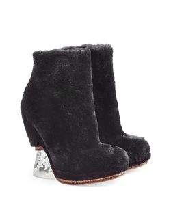 Fendi | Shearling And Leather Ankle Boots Gr. It 38
