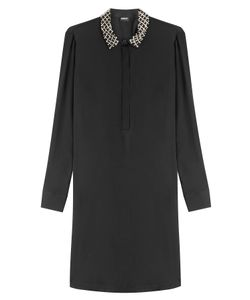 DKNY | Silk Shirt Dress With Embellished Collar Gr. Xs