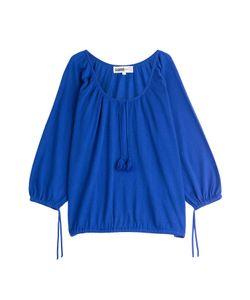 Claudia Schiffer for TSE | Bracelet Sleeve Peasant Cashmere Pullover Gr. L